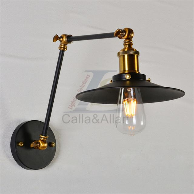 Swing Arm Wall Light Retro Metal Black Industrial Lamp Shade Adjustable Wall  Sconce Wall Mounted Wall