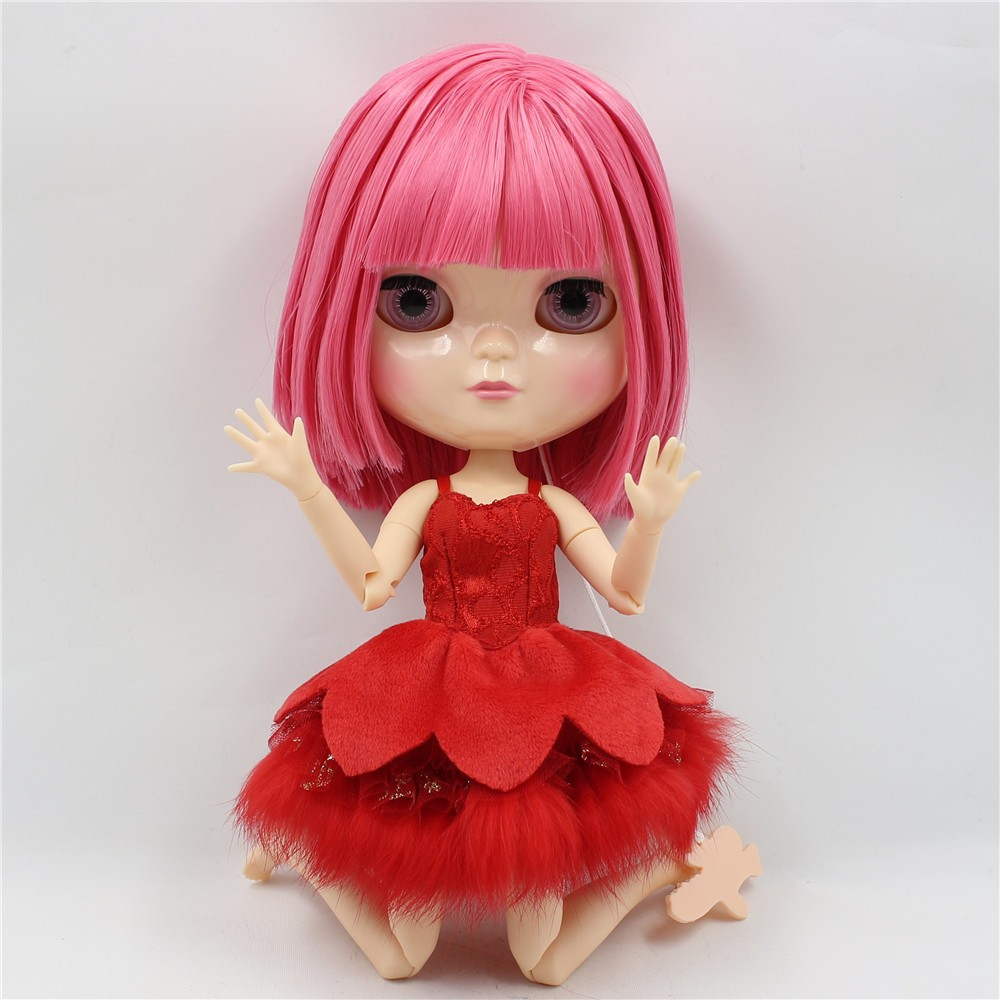 Neo Blythe Doll with Pink Hair, White Skin, Shiny Face & Jointed Azone Body 2