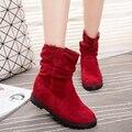 De gran Tamaño 2016 Otoño e Invierno Cuña Oculta Flock Caliente Botas Planas de Moda de Mitad de la pantorrilla Mujeres Botas Zapatos Casuales dulce de Encaje de Nieve