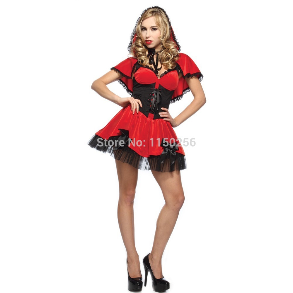 Little Red Riding Hood Sexy Girl Kawaii V Neck Lace Up Halloween Christmas New Year Party Cosplay Costume Free Shipping New-in Holidays Costumes from ...  sc 1 st  AliExpress.com & Little Red Riding Hood Sexy Girl Kawaii V Neck Lace Up Halloween ...