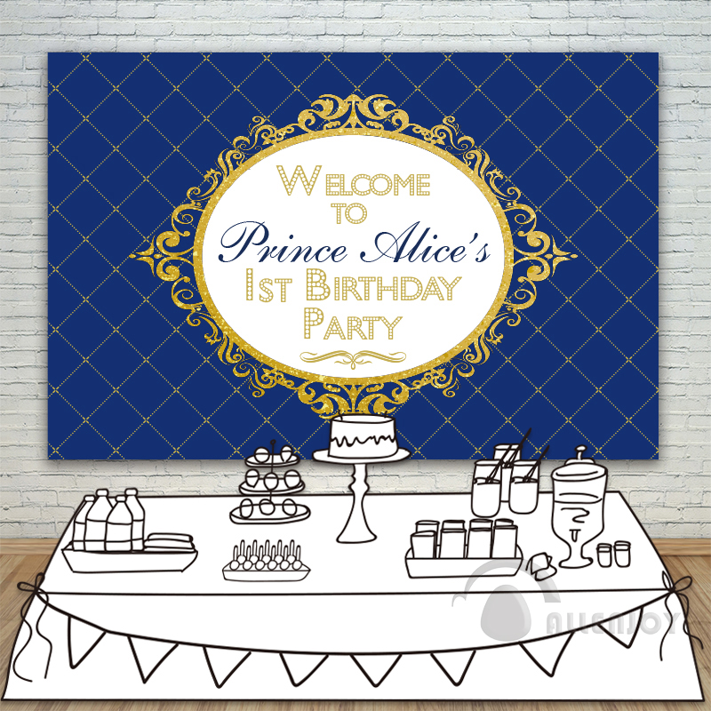 Prince Party Backdrop Baby Shower 1st Birthday Invitation celebration Party Blue Gold Table Banner photocall Background Allenjoy allenjoy backdrops baby shower background pink stripe rose gold circle birthday invitation celebration party customize
