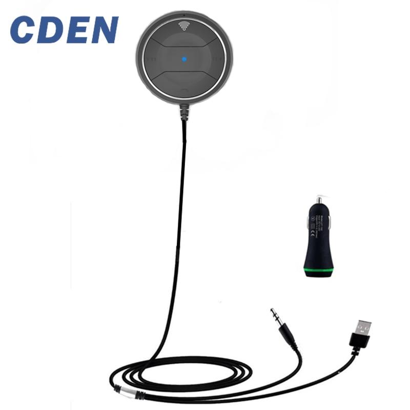 CDEN Carregador Dual USB Car Kit Sem Fio Bluetooth Car Receptor NFC AUX Adaptador de Áudio Música Falando Mãos Chamadas gratuitas