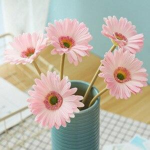 Image 3 - מלאכותי פרח PU מגע אמיתי גרברה פרח חמניות מזויף פרח מסיבת חתונת מתנות עיצוב הבית שולחן דקור