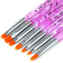 7 unids Gel UV acrílico uñas Builder pincel lápiz pintura Beuty DIY decoraciones herramienta pinceles Set Chic diseño 5GGI