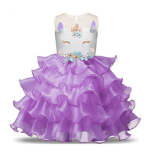 Princess Party Dress Unicorn Party Girls Dresses for Baby Girl Unicorn Costume Pageant Flower Birthday Dress Vestidos infantil стоимость