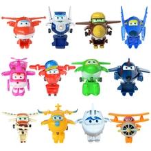 12 шт./компл. мини с рисунками героев из мультфильма «Супер Крылья деформации самолет робот фигурки игрушки для Детский подарок фигурки Супер крыло