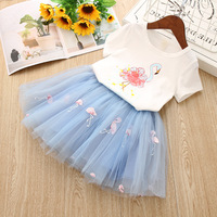 Girls Summer Clothes Set Children's Clothing Flamingo T Shirt + Lace Skirt Baby Kids Outfits Cute Clothing Suit for Children