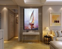 Handpainting Wall Art Oil painting Sailing Picture Handmade Modern Abstract Boats in Sea Oil Painting on Canvas for Home Decor