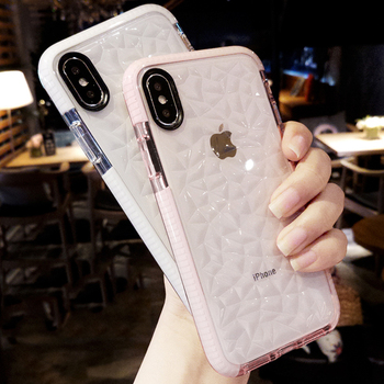 2020 Shockproof Transparent Diamond Texture Phone Case for iPhone 11 Pro Max XR XS Max 10 8 7 6s Plus Silicone Cover accessories image