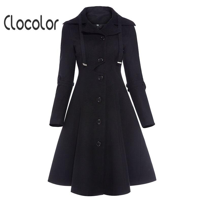 Clocolor Асимметричная Черная куртка со стоячим воротником с длинным рукавом Для женщин пальто элегантный однобортный Тонкий Осень-зима Для же... ...