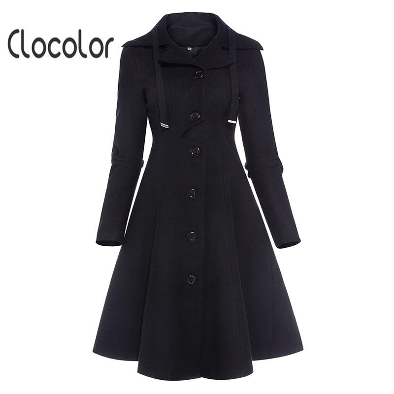 Clocolor Asymmetrische Schwarz Mantel Stehkragen Langarm Frauen Mantel Elegante Einreiher Schlank Herbst Winter frauen mantel