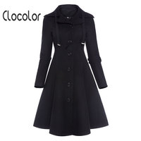 Clocolor Asymmetric Black Coat Stand Collar Long Sleeve Women Overcoat Elegant Single Breasted Slim Fall Winter