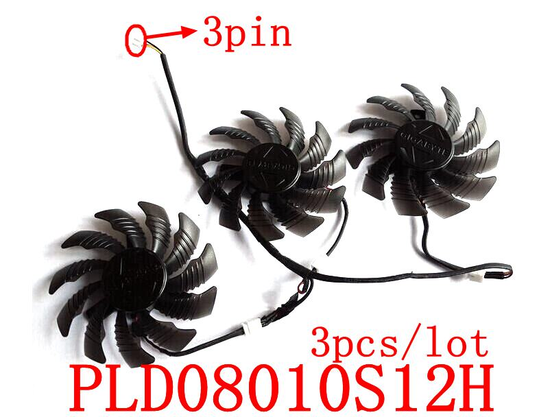 Free shipping POWER LOGIC PLD08010S12H  3pcs/lot 3pin for GIGABYTE Graphics card fan free shipping power logic pld10010s12m 12v 0 20a 95mm for gigybyte gvn550wf2 n56goc r667d3 r777oc graphics card cooling fan 2pin