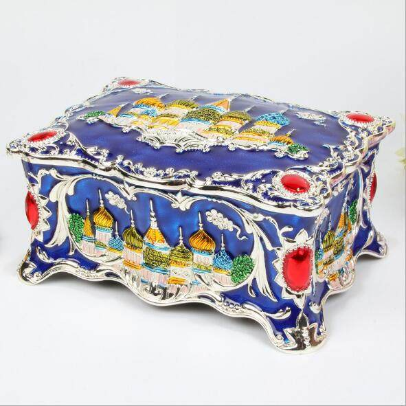 big size vintage russian castle jewellery box multi colors enamled decoration necklace pendant rings gifts storage case