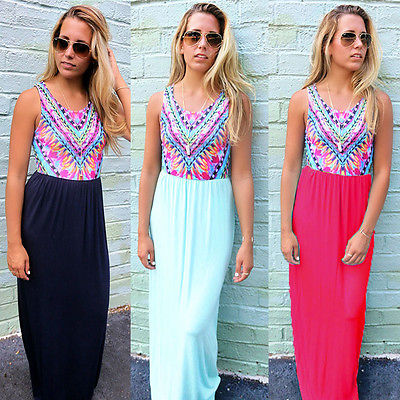 6ff5a5dd71e Fashion Womens Sexy Boho Long Maxi Dress Ladies Summer Beach Party Sundress  UK Size 6 20-in Dresses from Women s Clothing on Aliexpress.com
