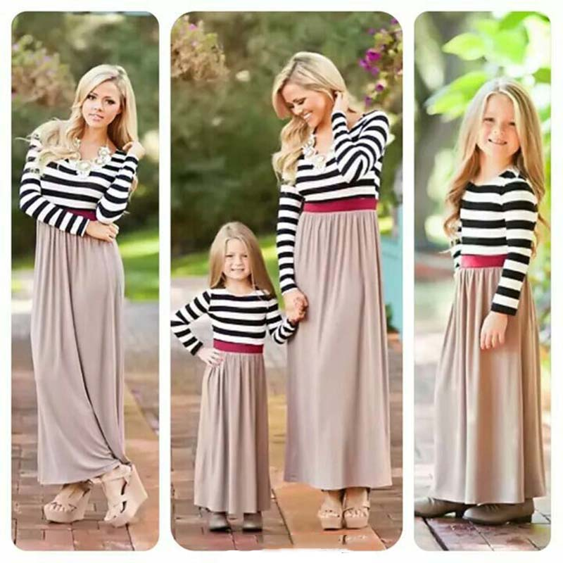 812999168bce Mother Daughter Dresses Spring Autumn 2019 Family Matching Outfits Moms And  Girls Clothes Long Sleeve Plaid Family Dress