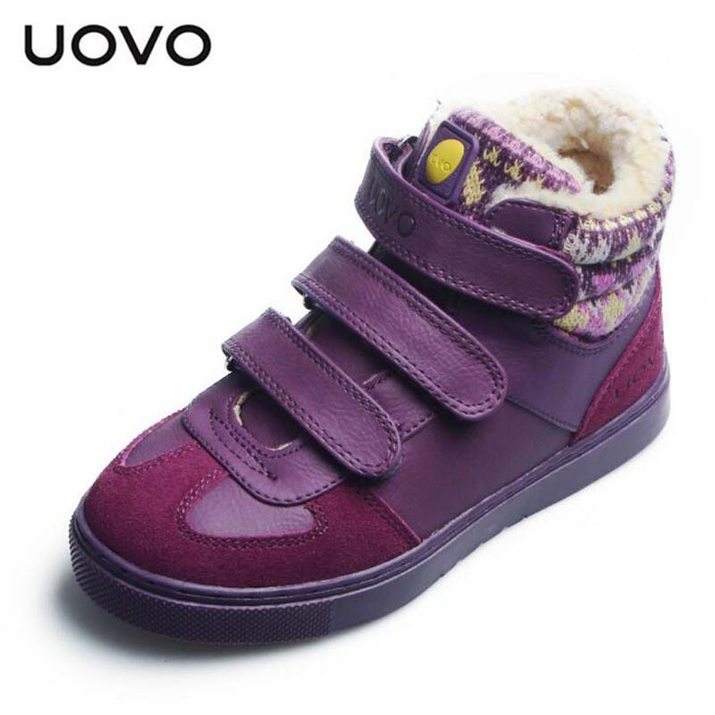 UOVO brand shoes kids autumn winter snow boots boys girls Plus velvet warm boots quality children fashion sneakers size 30-39 uovo 2017 new kids shoes fashion children rubber boots for girls boys high quality warm winter children snow boots size 33 38