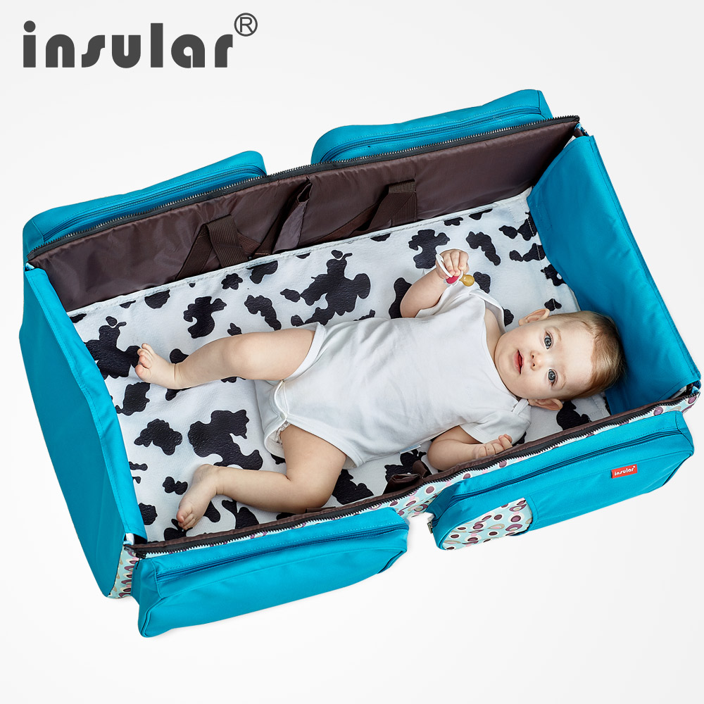 Insular Travelling Baby Diaper Bag Portable Outdoor Baby Crib Bed Infant Safety Bag Cradles Folding Crib Bed Safety Mommy Bag promotion 6pcs baby bedding set cot crib bedding set baby bed baby cot sets include 4bumpers sheet pillow