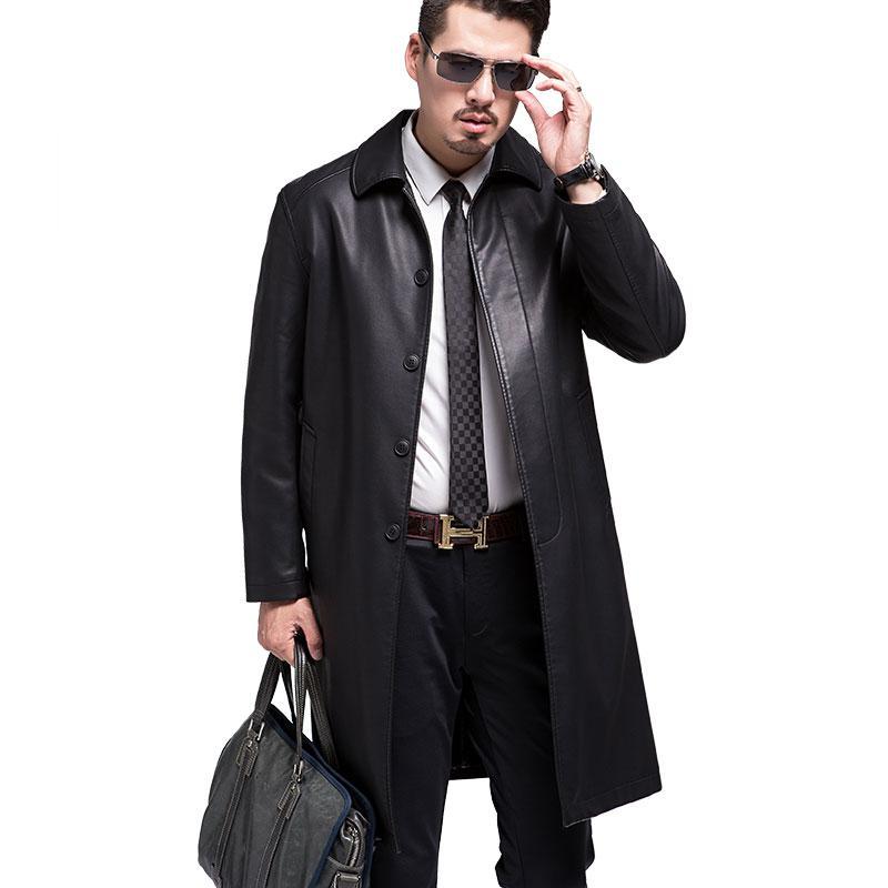 New Style Men Genuine Leather Coats Long Section Sheepskin Jacket And Coat Male Leather Coat Winter Style ,leather Jacket