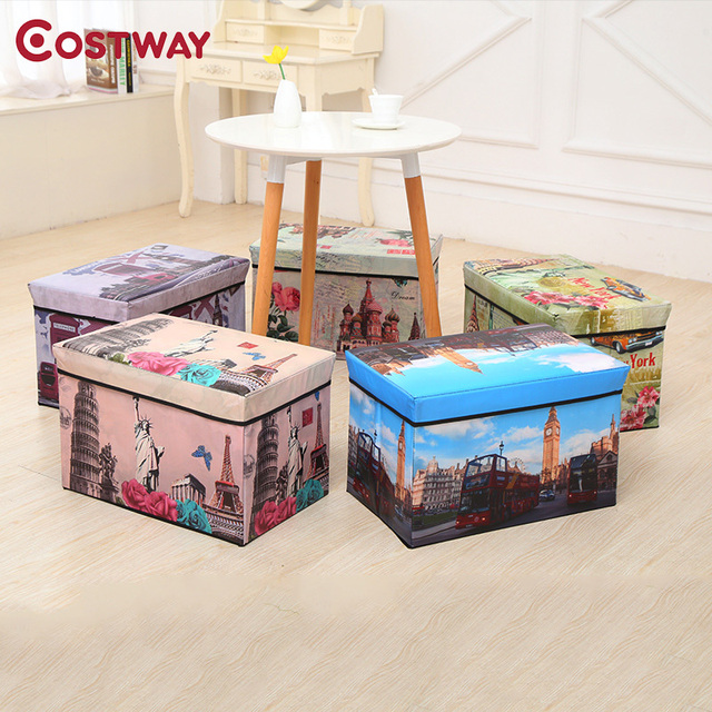 COSTWAY Multi Function Non Woven Retro Folding Storage Stool Sit Box Shoes  Stool Storage