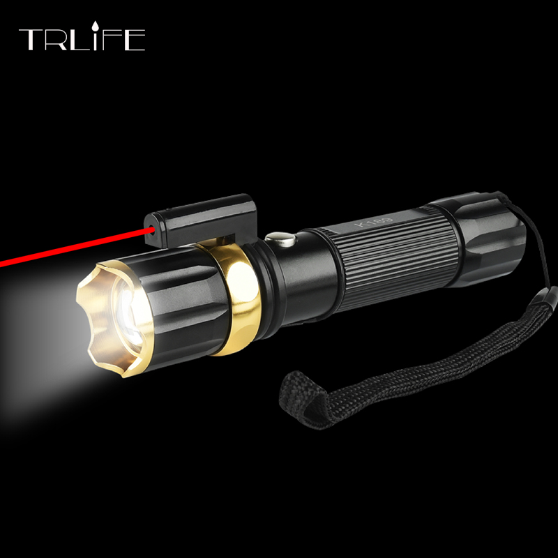 LED Tactical Flashlight Red Laser+CREE XM-L T6 led Torch 3800LM 3Modes Zoomable Hunting Light linterna Led cree xm l t6 bicycle light 6000lumens bike light 7modes torch zoomable led flashlight 18650 battery charger bicycle clip