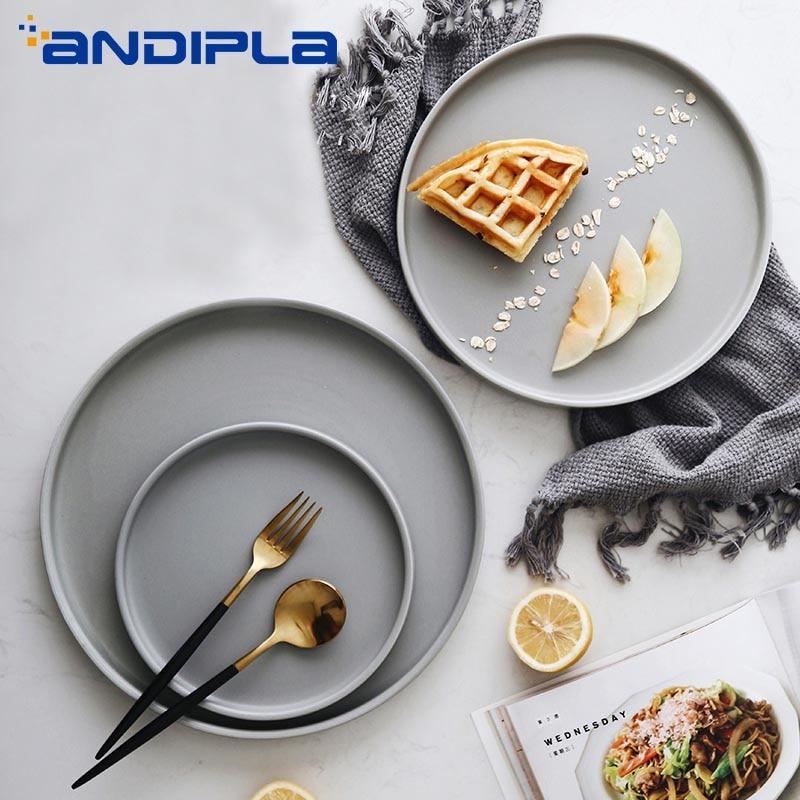 >Creative Brief <font><b>Nordic</b></font> <font><b>Style</b></font> <font><b>Ceramic</b></font> Dinner Plate Tableware Round Western Plate Fruit Cake Dessert Dish Breakfast Tray Dinnerware