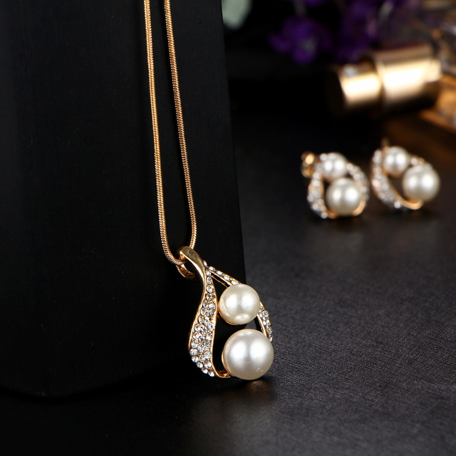 17KM Bijoux Luxury Double Simulated Pearl Jewelry Set For Woman Fashion Dubai Crystal Necklace Earrings Wedding Accessories Gift