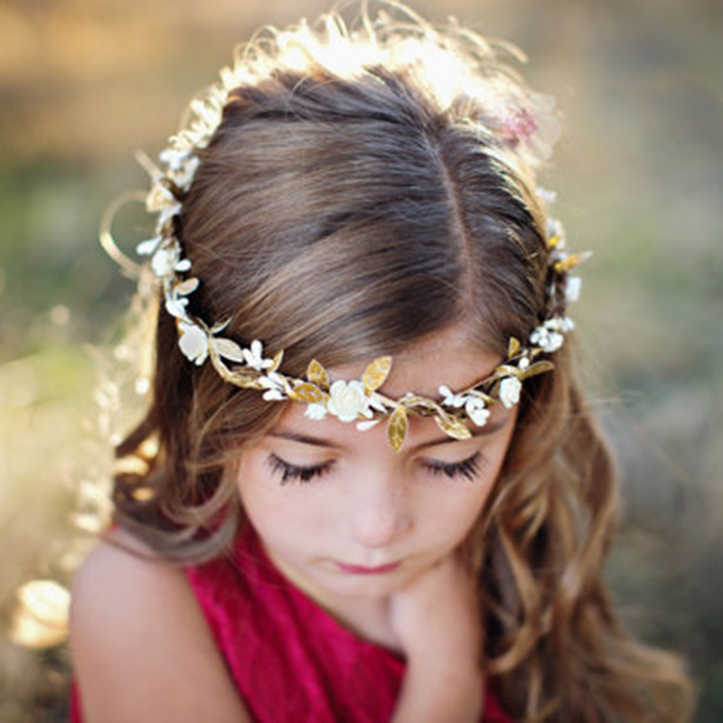 Lovely Weaving Flowers Girls Hair Band Princess Crown Flowers Headband Kids Photo Shoot Props Hairdress girls hair accessories slipper