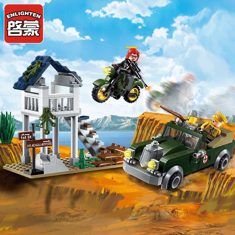 Enlighten Military Educational Building Blocks Toys For Children Gifts Army Cars Assassin Sniper Gun World War Hero Weapon