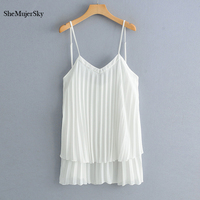 SheMujerSky White Cami Top Spaghetti Strap Pleated Women Long Tops Elegant Backless Womens Blouses 2019
