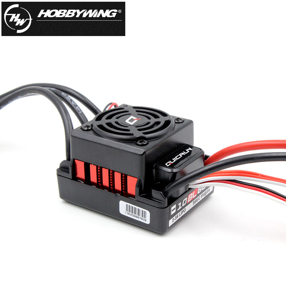1pcs Original Hobbywing QuicRun-WP-10BL60 Sensorless Brushless Speed Controllers 60A ESC for 1/10 Rc Car 1set original hobbywing quicrun wp 10bl60 brushless speed controller 60a rc car esc 3656 3800kv motor programe card