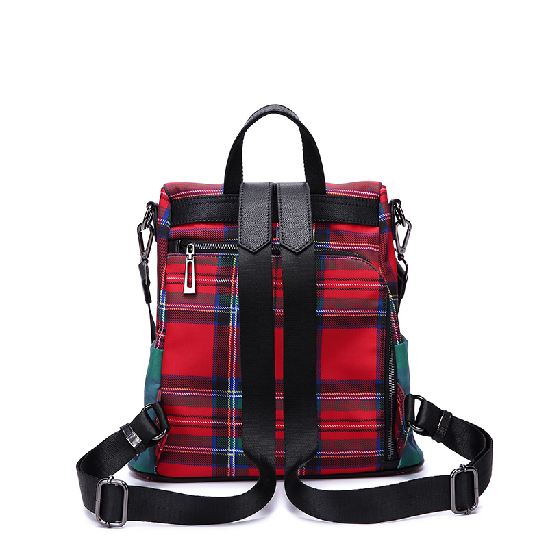 Vento Marea Female Girls Fashion School Backpacks Multi function Plaid Rucksack Book Bag For Teenage Women Travel Shoulder Purse in Backpacks from Luggage Bags