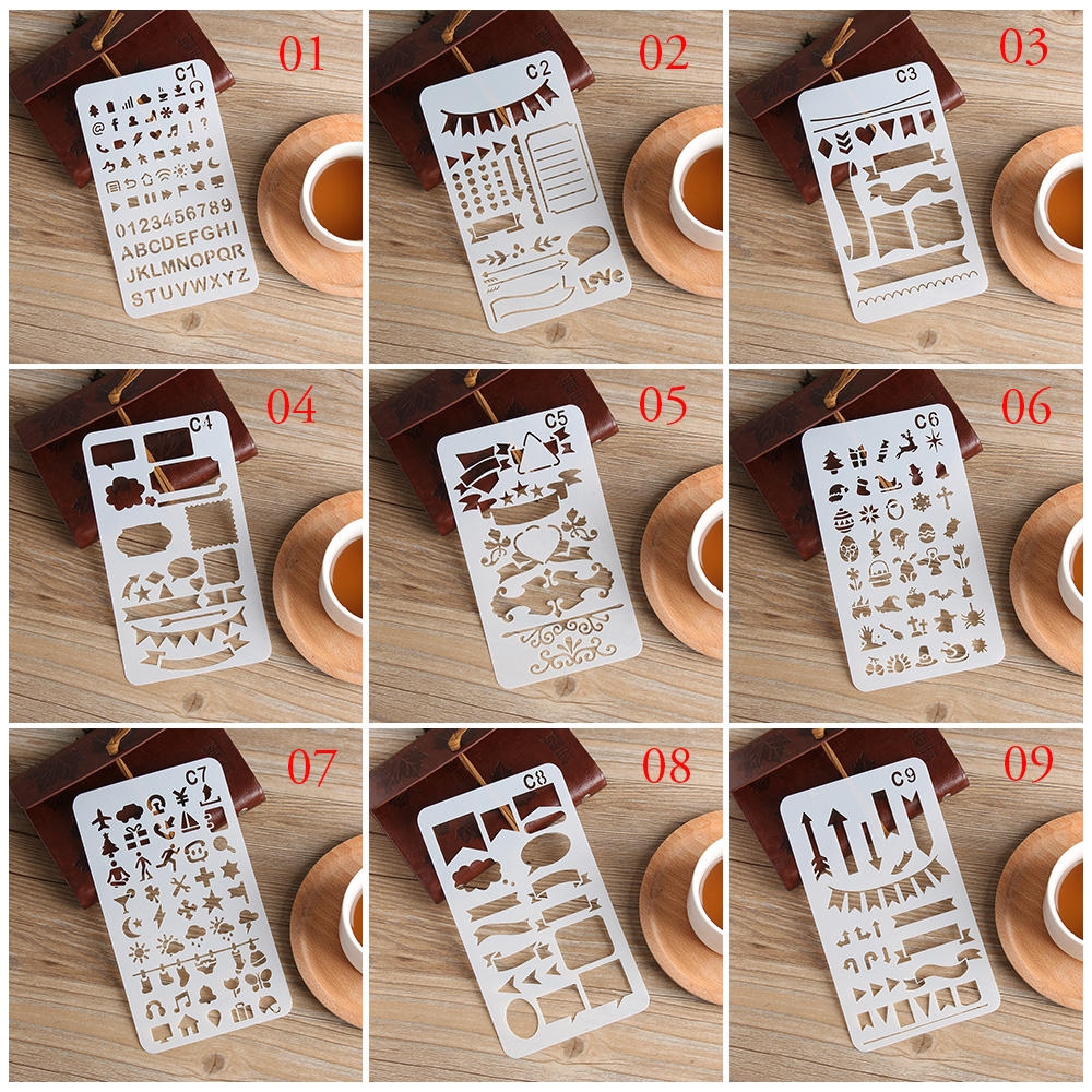 Craft Stationery Painting Template Scrapbooking Hollow Ruler Plastic Stencils