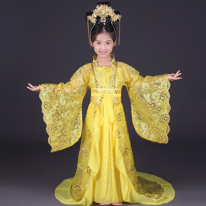 Royal Children Empress Wu Zetian Costume Girl Chinese Traditional Dance Clothing Kids Tang Dynasty Princess Hanfu