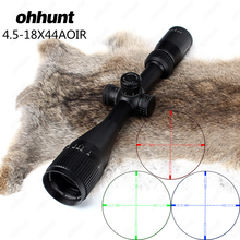 ohhunt 4.5-18X44 AOIR Hunting Riflescope Full Size RGB Illuminated Wire Reticle Lock Reset Tactical Optical Sights with Rings