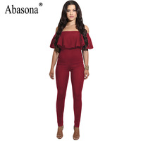 Abasona Jumpsuits For Women 2017 Sexy Ruffles Off The Shoulder Elegant Party Skinny Jumpsuit Office Women