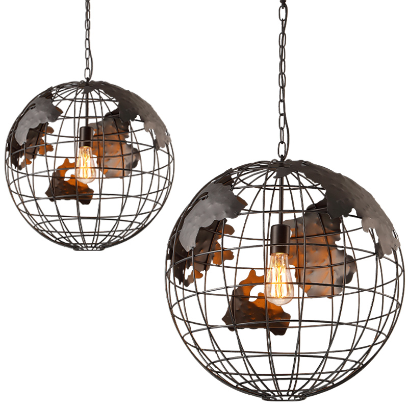 Globe Restaurant Cafe Bar Iron pendant lights personality Retro industry wind  to do the old art single head Pendant lamps ZAG classical chinese food industry restaurant bar cafe original wood single head pendant lights rmy 0247