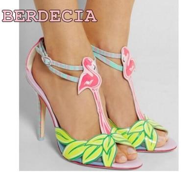 European and American fashion plant painting high heel sandals women shoes stiletto heel open toe sandals unique design sandals