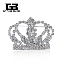 Clear Rhinestone Crown brooch pin Bling Jewelry for Lady