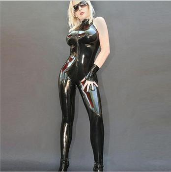 S-XXL Sexy Women Vinyl Latex Zentai Suit Black PVC Leather Bodysuit Cool Sleeveless Catsuit Lingerie Gloves Clubwear Costume Chemisier