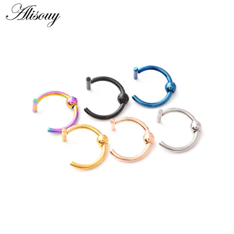 Alisouy 1PC Fake Septum Stainless Nose Ring Lip Ring C Clip lip Piercing Ball Nose Rings Hoop for Women piercing Body Jewelry