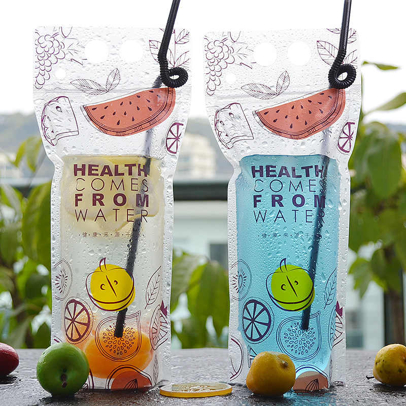 Cute cartoon design Drinks clear self sealing bags fruit juice Frost yoghourt plastic pouch with Hole Handl 12*27+4 100pcs