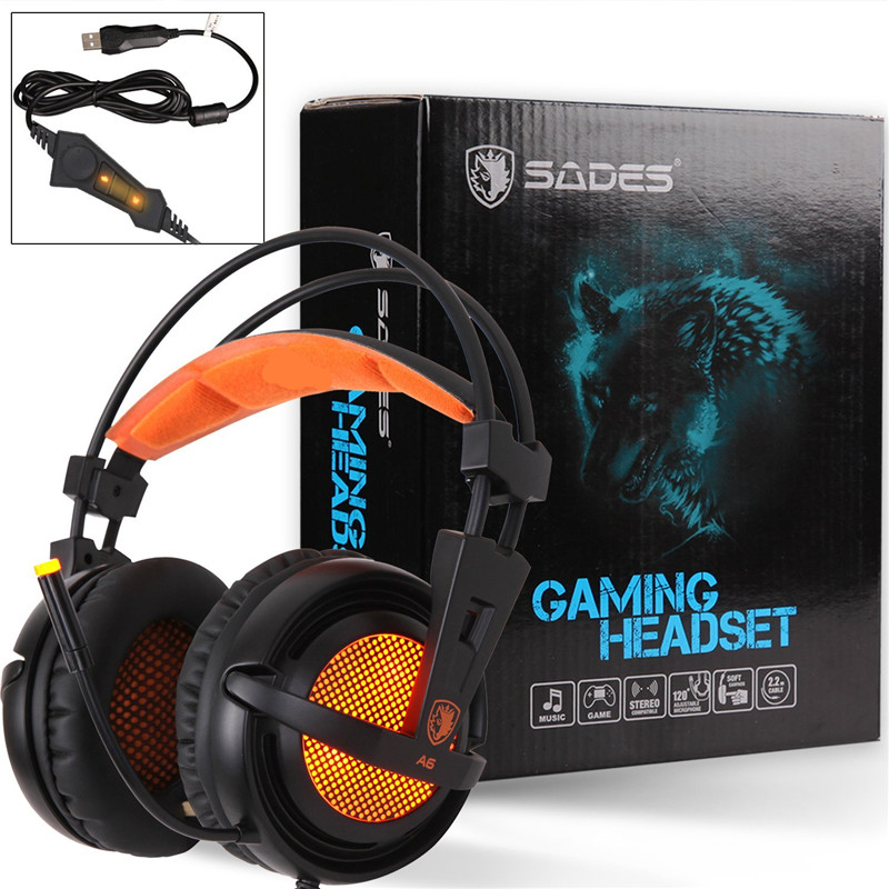 ФОТО SADES A6 USB 7.1 Surround Stereo Gaming Headset Auriculares Gamer Multi-function Control Remote LED Light Headphone for Computer