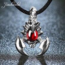 Jiashuntai retro 925 prata esterlina escorpião pingente colar jóias de prata pedra vermelha para lvoers femininos e masculinos