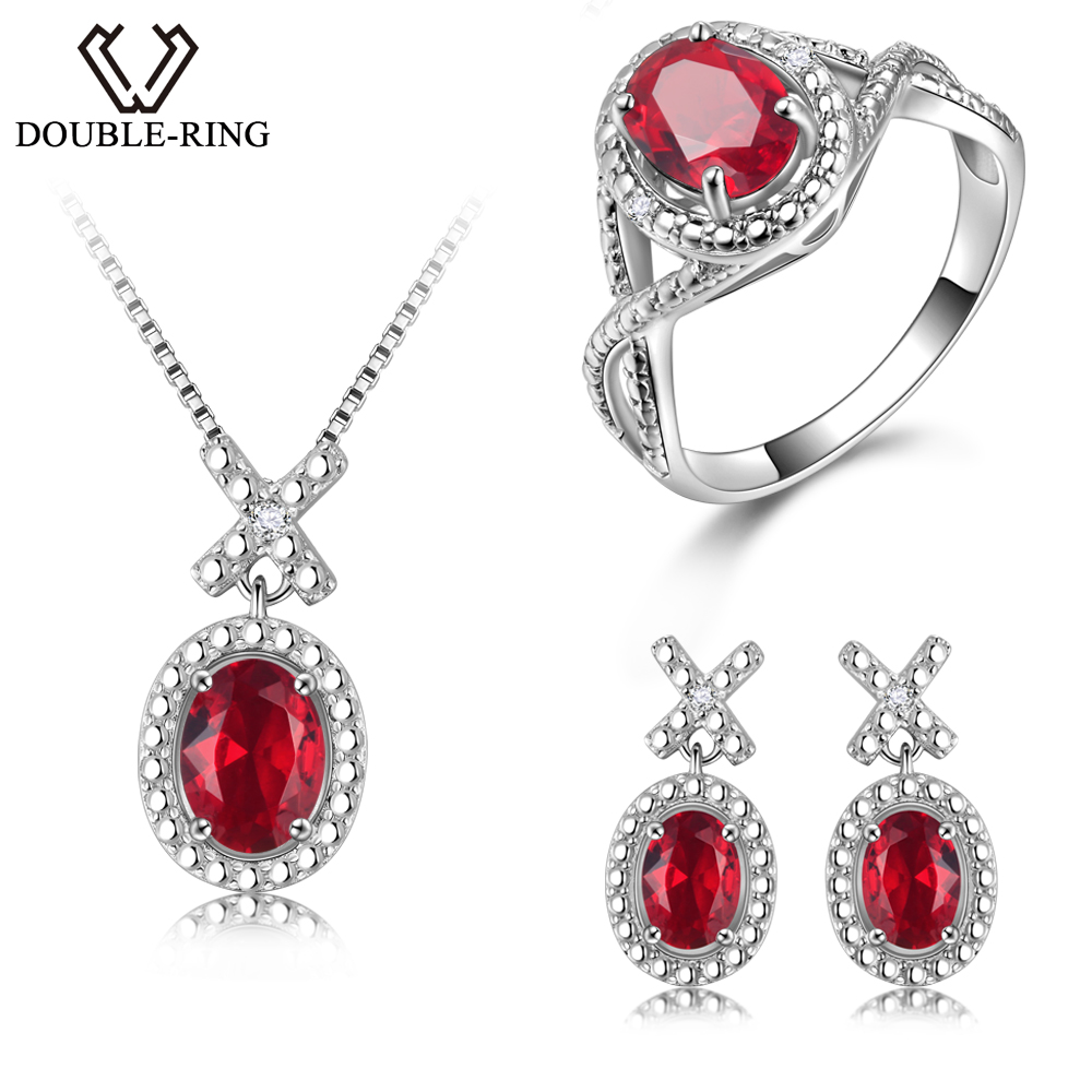 DOUBLE-R Silver 925 Earrings Ring Created Oval Ruby Gemstone Pendant Necklace Zircon Women Wedding Jewelry Sets a suit of chic faux ruby zircon geometric necklace and earrings for women