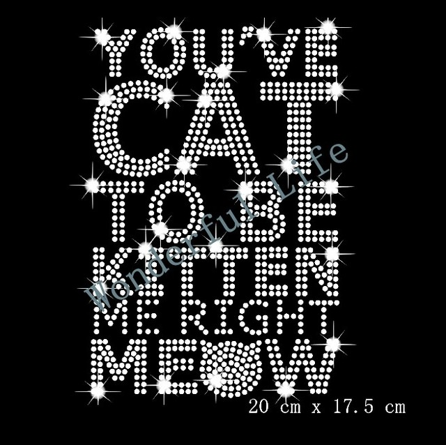 Free shipping hotfix rhinestone Iron On bling transfer design motif you  have cat to be kitten words 8f099162a1af