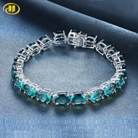 Hutang Blue Fluorite Bracelet 7.5 inches Natural Gemstone Solid 925 Sterling Silver Fine Fashion Stone Jewelry Women's Best Gift