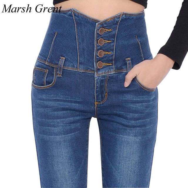 91b5f8166 Mulheres Calça Jeans de Cintura Alta 2018 Moda Azul Denim Stretch Skinny  Quatro Botões Das Calças