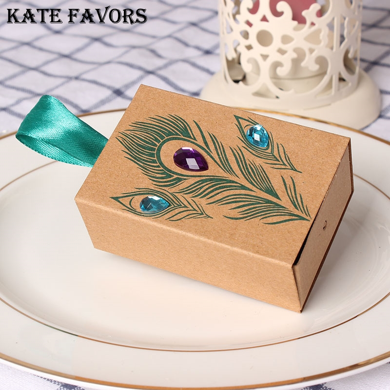 12pcs/lot Mini Kraft Party Favor Boxes Candy Gift Boxes Jeweled Peacock Wedding Party Box For Party Favors ...