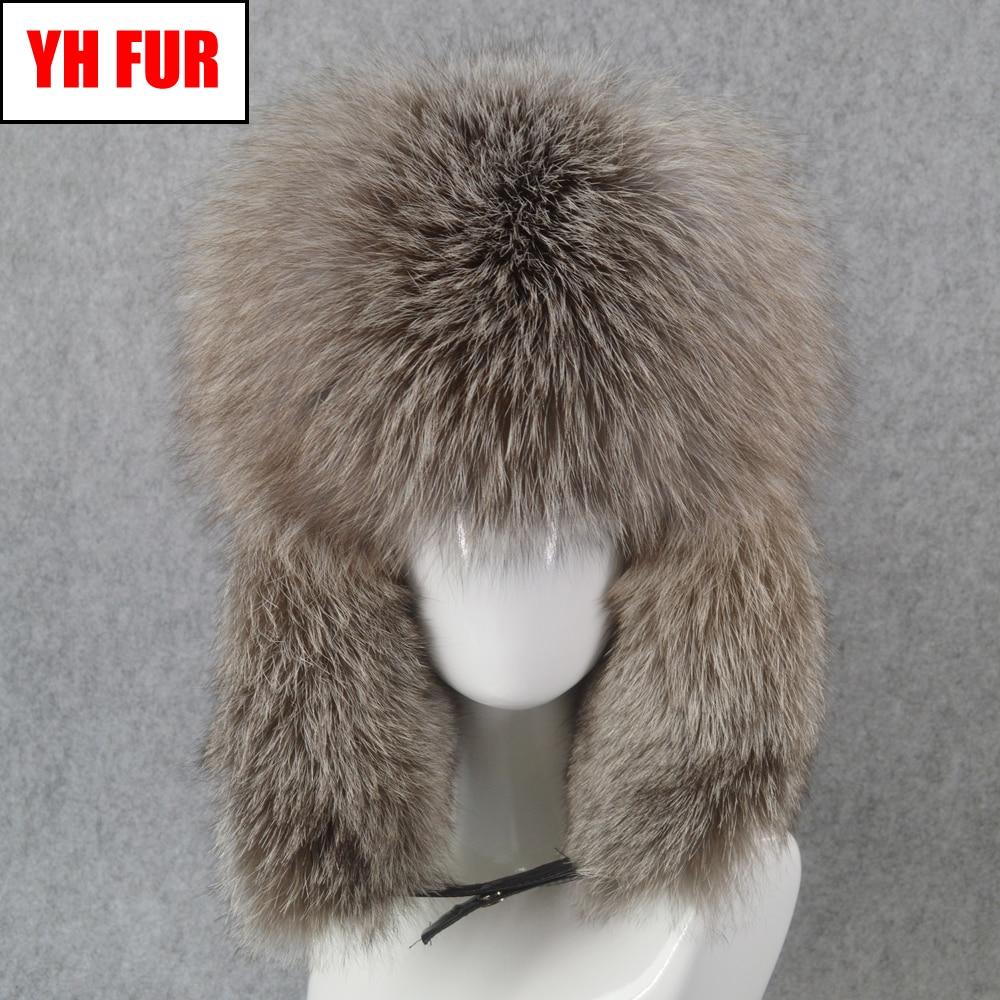 Bomber-Hat Russia Hats Cap Real-Fox-Fur Winter Genuine Man Warm Men Fluffy Soft Quality